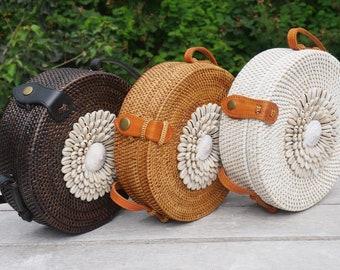 Bali Rattan Bag - Round Rattan Bag - Handwoven round rattan bag - Handmade Round Rattan Bag with Cowrie Shell - Boho Chic