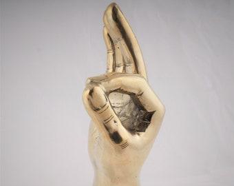 Brass Ok sign Sculpture - Ok Sign - Brass Hand Sign - Brass Hand Signal - Brass Ok Sign Accessory - Brass Ok Finger