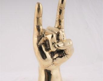 """Brass """"Hook 'Em Horns"""" Sculpture - Hook 'Em Horns - Brass Hand Sign  Brass Hook 'Em Horns  - Accessory - Brass Hook 'Em Horns"""