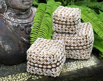 Set of Balinese Offering Baskets - Cowrie shells baskets -  Bali Baskets - Baskest with shells - Balinese Keben Bamboo Box