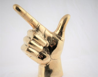 Brass Gun Hand Sculpture - Gun Hand Sign - Brass Gun Hand Sign - Brass Hand Signal - Brass Gun Hand  Accessory - Brass Gun Hand Sign