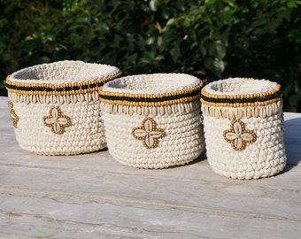 Set of 3 Macrame Crochet Baskets.  Cowrie Shell Decor. Handmade.  Storage Basket. Makeup Organizer. Bathroom Decor. Nursery Decor