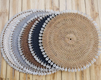 Set of Cowrie Shell Placemates - Rattan Placemates - Boho Kitchen Decor - Cowrie Rattan Underplates - Plate Charger Boho