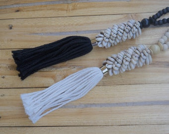 Pair of Handmade Boho  Bed  and  Curtain Tassels with sea shells, Curtain Decor Accessories, White Curtain Holdback, Black Curtain Holdback