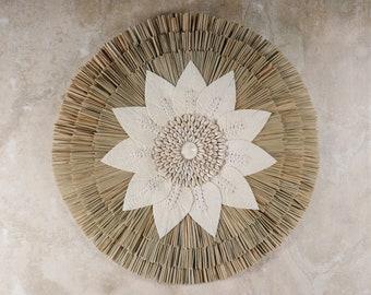 Raphia Wall Hanging - Papua Wall Decoration - Grass Ornament - Shell Ornament  - Coastal Decor - Wall Ethnic Decor - Macrame  Feather Decor