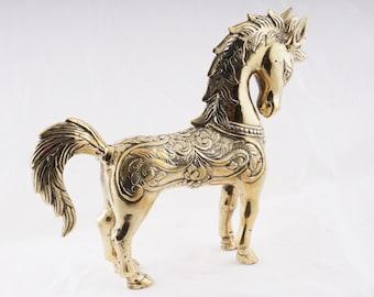 Brass Horse Figure - Brass Horse Statue - Horse Sculpture - Tribal Horse - Javanese Brass Art - Antique Brass Horse - Indonesian Handicraft