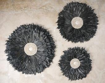 Wall Juju- Wall Juju Set - Papua Shell and Feather Juju - Shell Ornament  - Coastal Decor - Wall Ethnic Decor -