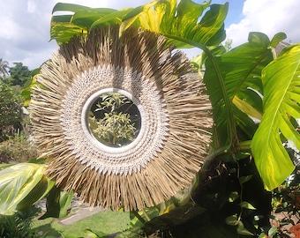 Papua Shell and Grass Mirror - Raffia Seashells Round Mirror - Seagreass Round Mirror - Boho Wall Mirror - Cowrie Wall Mirror -