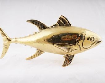 Brass Tuna Statue - Brass Tuna Figure - Tuna Sculpture - Yacht Interior Deco - tunalovern -