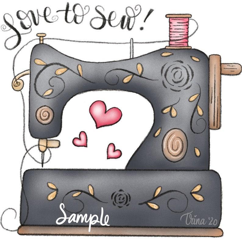 Liebe zu Nähen Nähmaschine 2019  ClipArt Designs Grafiken image 0