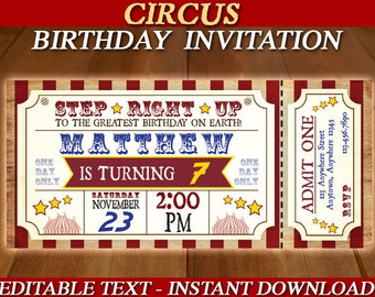 CIRCUS BIRTHDAY INVITATION - Circus Invitation - Carnival Birthday Party Invitation - Carnival Ticket Invite  Editable Text Instant Download