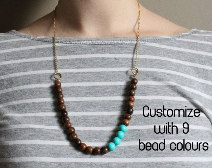 Beaded Robles Wood Necklace // Colour Accent