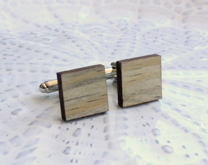 Bold Beetle Pine Square Wood Cufflinks