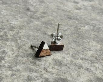 Mountain Earrings // Walnut Wood