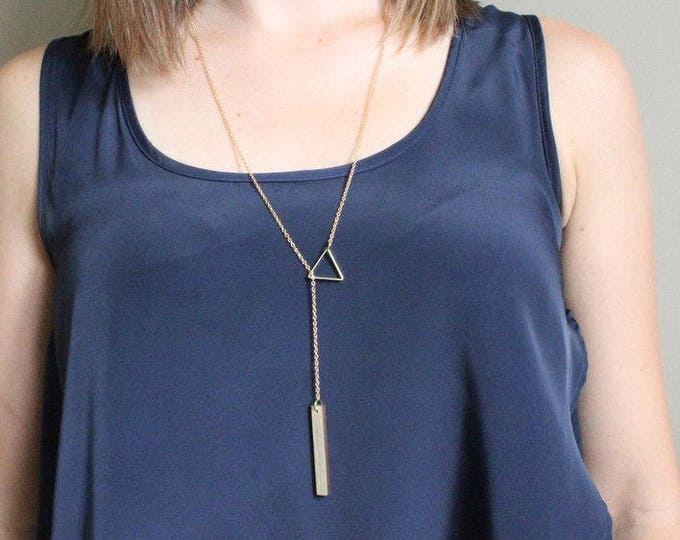 Triangle Threader Necklace with Beetle Pine Pendant
