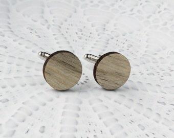 Beetle Pine Round Wood Cufflinks
