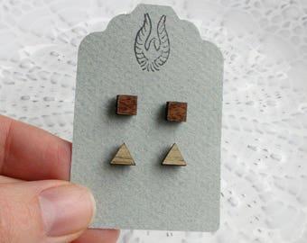Triangle & Square Wood Stud Earring Set