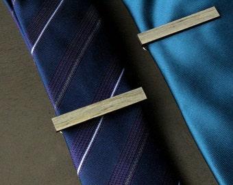 Wooden Tie Clip, Groomsmen Gift, 5th Anniversary Gift, Grey Tie Clip, Salvaged Wood, Beetle Pine Tie Bar