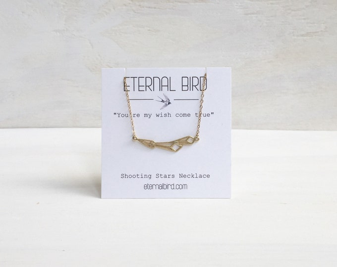 Geometric Shooting Star Necklace in Gold Filled