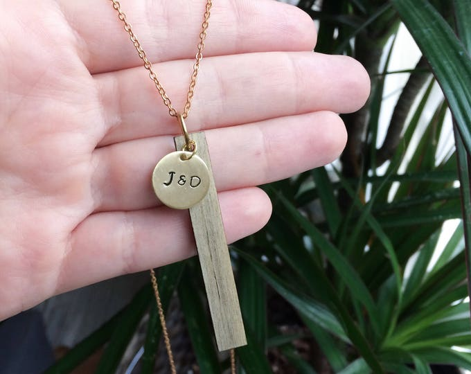 Hand Stamped Beetle Pine Wood Bar Necklace