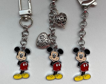 Disney Mickey Mouse charm keychain zipper pull purse wallet cell phone bracelet