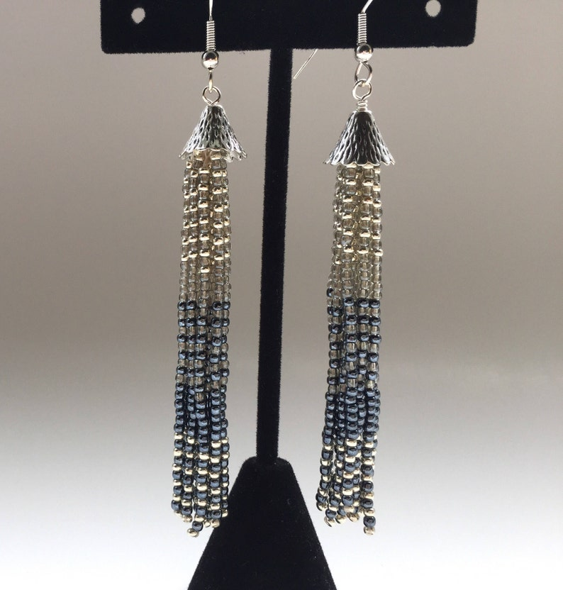 12b99a904 Beaded Tassel Earrings Silver and Gray Fringe Long Earrings | Etsy