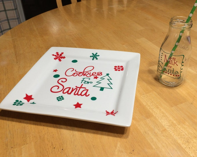 Cookies /& Milk for Santa Set  Plate and Cup Set  Santa/'s Cookies and Milk