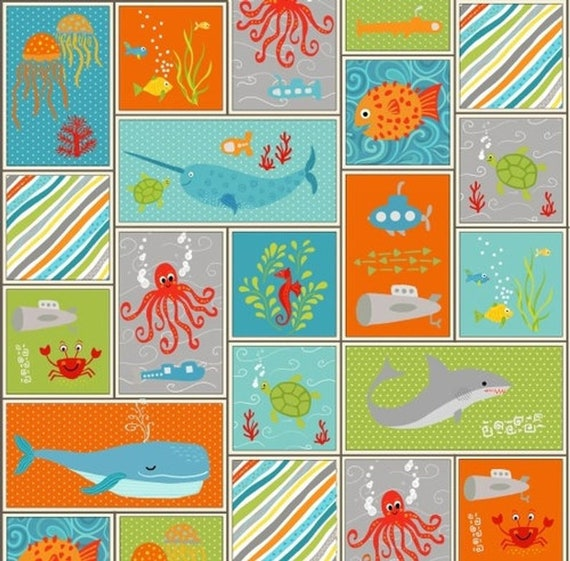 Teal 6826-77 by Henry Glass 100/% Cotton Fabric Submarine Bolt End 23in
