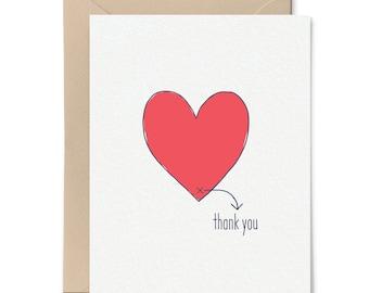 Simple Thank You Card Thank You Card Heartfelt Thanks Etsy