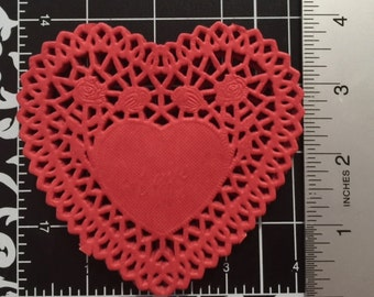Set of 60 Red Paper Doilies Heart Shaped (Lace dolies)