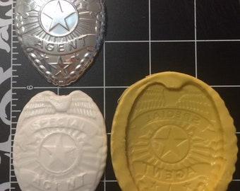 Badge silicone mold / Special Agente badge mold / Police badge mold