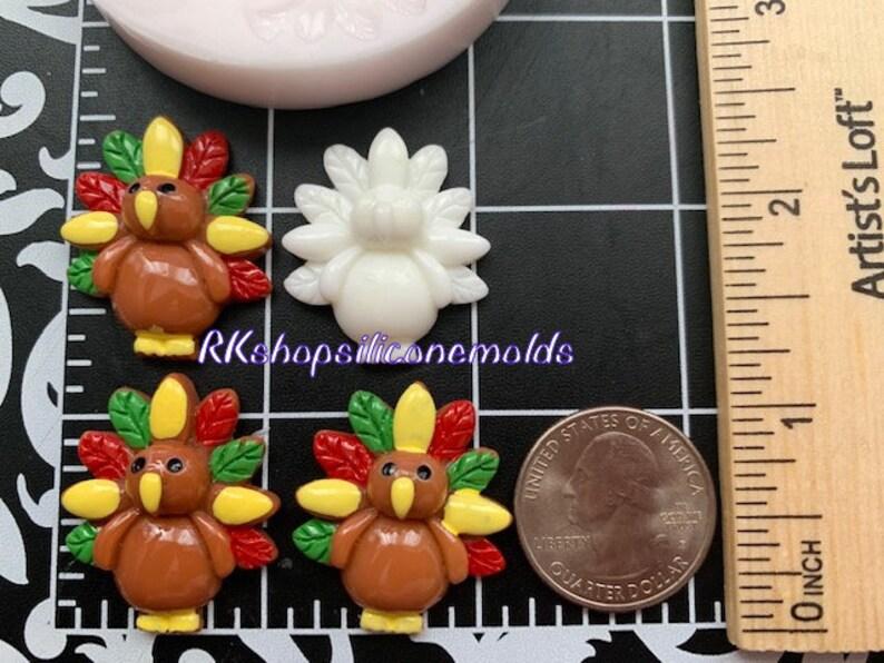 3 Cavities turkey Thaksgiving-Fall-bird-Silicone Mold Fondant-Resin-crafts-Clay-Candy-Jewelry-gumpaste