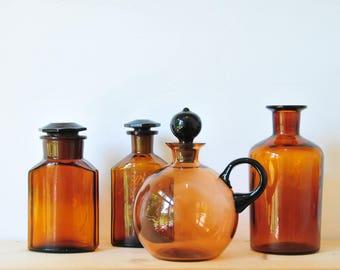 vintage brown glass carafe, brown glass bottle, glass carafe, brown vinegar bottle, CAS75
