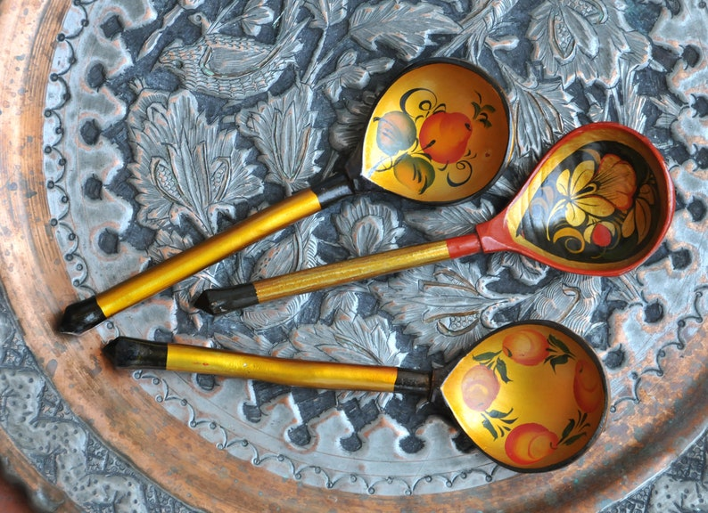 Vintage Russian wooden spoons, Russian folk art spoons, hand painted  khokhloma spoons, Soviet vintage, Soviet retro, laquer painting, CAS131