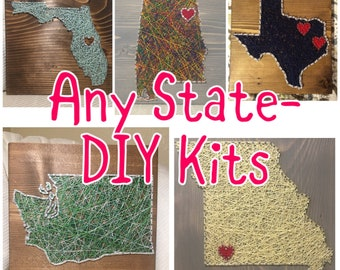 DIY State Country String Art Kit - Pre-Hammered Simple String Art Signs String Art for Beginners Template Christmas Present Kids Gifts & Diy christmas gifts | Etsy