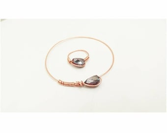Copper Bracelet & Ring with a Redish Stone Set