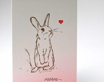 Mothers Day Card - Rabbit Letterpress - Mum - Mom Letterpress Mother's Day Greetings card