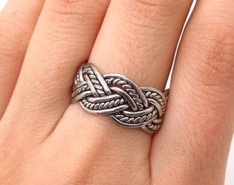 Vintage Mexican Sterling Silver Braided Filigree Ring c1940s
