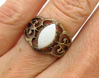 Esposito 925 Sterling Silver Synthetic Moonstone Wide Ring Size 8.5 J