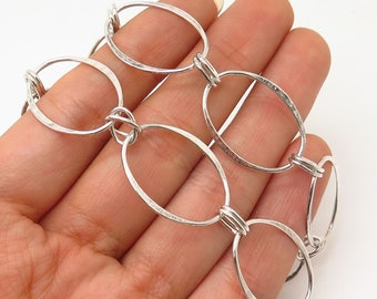 925 Sterling Silver Robert Lee Morris Oval Chain Necklace 17