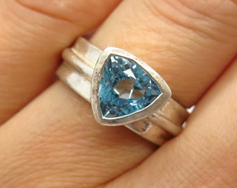 Triangle Naturel Bleu Topaz Gemstones 1.88 ct Clous D/'Oreilles Argent Sterling 925