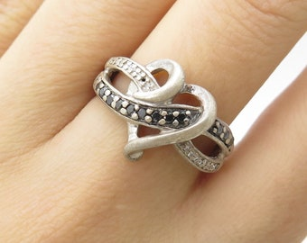 0a06e227b Kay Jewelers 925 Sterling Silver Real Diamond Heart Crossover Ring Size 6  3/4