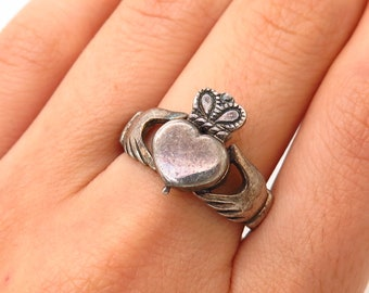 Celtic Knotwork Hearts .925 Sterling Silver Ring by Peter Stone Jewelry