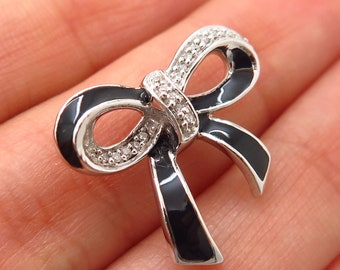 b023fa092 925 Sterling Silver Kay Jewelers Real Diamond and Enamel Bow Design Slide  Pendant