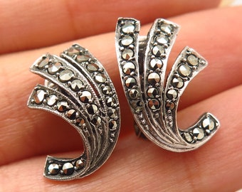c9166bc0f Vintage Art Deco Europe 835 Silver Real Marcasite Clip On Earrings