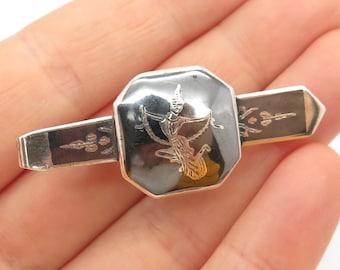 925 Sterling Silver Vintage Siam Niello Three Headed Elephant Tie Clip