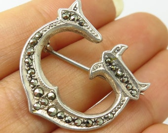 93a812da2 Vtg 925 Sterling Silver Real Marcasite Gemstone Letter G Initial Pin Brooch