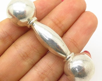 Baby Other Fine Jewelry 1930s-1980s Vtg Mexico 925 Sterling Silver Dumbbell-style Baby Rattle