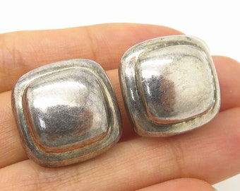 74c9e54a3 Vintage Barra 925 Sterling Silver Cushion Design Clip On Earrings