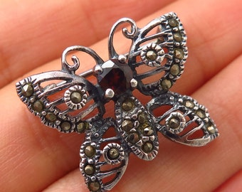 Vtg 925 Sterling Silver Real Marcasite Gem Butterfly Design Pin Brooch Jewelry & Watches Fine Pins & Brooches